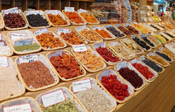 Dried fruits on street market Royalty Free Stock Photo