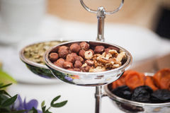 Dried fruits on the table. Mix of healthy snaks. Royalty Free Stock Photography