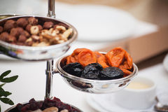 Dried fruits on the table. Mix of healthy snaks. Stock Photo