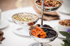 Dried fruits on the table. Mix of healthy snaks. Stock Images