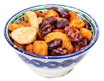 Dried fruits in typical ceramic bowl isolated Royalty Free Stock Image