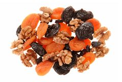 Dried fruits and walnuts. Royalty Free Stock Image