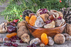 Dried fruits with walnuts Royalty Free Stock Photos