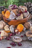 Dried fruits with walnuts Stock Photo
