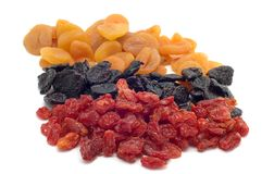 Dried fruits on white royalty free stock photo