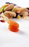 Dried fruits on white background, apricot Stock Photo