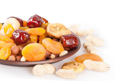 Dried fruits on white background Royalty Free Stock Images