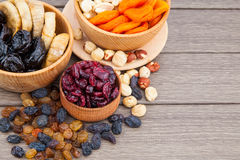 Dried fruits in wooden bowl Royalty Free Stock Photos