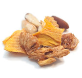 Dried ftuit and nut mix. Dried mango bits and nut mix Stock Image