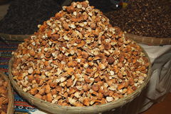 Dried fungus and dried mushroom. Sales market in the western China do miscellaneous food Royalty Free Stock Photography