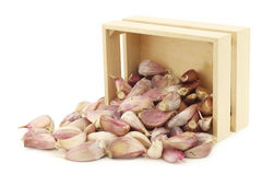 Dried garlic cloves in a wooden box Royalty Free Stock Photos