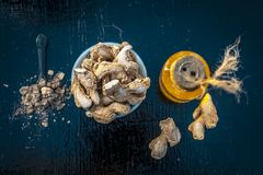 Dried ginger with oil and nutmeg powder. Dried ginger or soth or Zingiber officinale with nutmeg powder and its extracted oil for good digestion and medicine Stock Images
