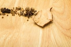 Dried ginger with  Star anise and spices Stock Image
