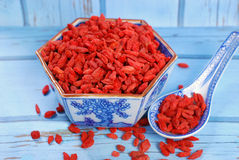 Dried goji berries on chinese spoon and in a bowl Royalty Free Stock Photography