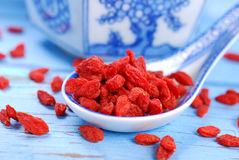 Dried goji berries on chinese spoon Royalty Free Stock Images