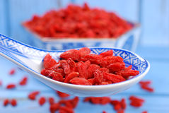 Dried goji berries on chinese spoon Royalty Free Stock Photo