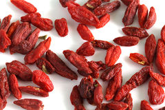 Dried goji berries or cranberries fruit, macro  Royalty Free Stock Photography