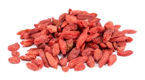 Dried Goji Berries isolated on white Stock Images