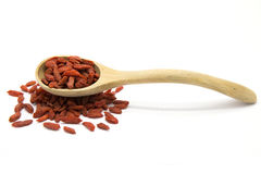 Dried Goji berries in wooden spoon Stock Photography