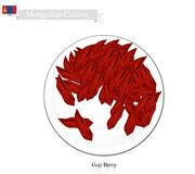 Dried Goji Berry, A Popular Fruit in Mongolia. Mongolia Fruit, Illustration of Dried Goji Berry. One of The Most Popular Fruits of Mongolia royalty free illustration