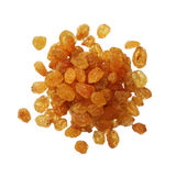 Dried golden raisins isolated on white background, close up Stock Photography