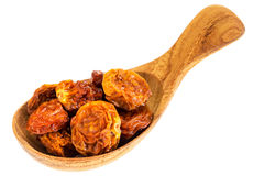 Dried goldenberries on  wooden spoon Royalty Free Stock Photo