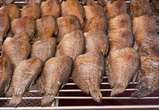 Dried Gourami fish for sale in the market. Stock Image