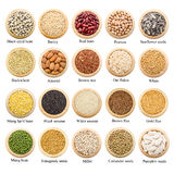 Dried grains, peas and rice collection with titles. Dried grains, peas and rice collection with titles, isolated over white background Royalty Free Stock Photos