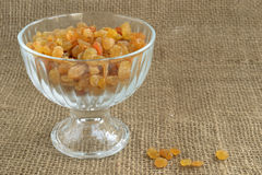 Dried grapes in a glass vase Royalty Free Stock Photos