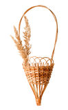 Dried grass panicles and basket composition Royalty Free Stock Image