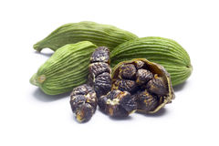 Dried green cardamom pods and seeds, paths Stock Photos