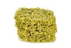 Dried green noodles Japanese style on white background Royalty Free Stock Photography