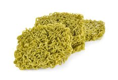 Dried green noodles Japanese style on white background Stock Images