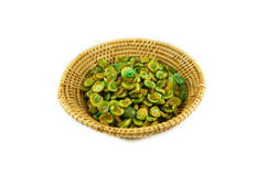 Dried green pea in basket Stock Images