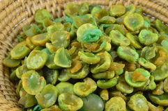 Dried green pea in basket Stock Photo