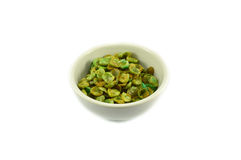Dried green pea in cup Royalty Free Stock Image