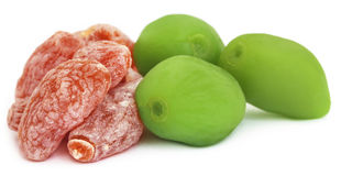 Dried and green peach Royalty Free Stock Images