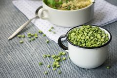 Dried green peas. stock images
