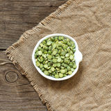 Dried  Green Split Peas in a bowl Royalty Free Stock Image
