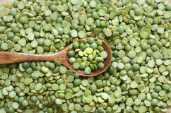 Dried  Green Split Peas with a spoon Royalty Free Stock Images