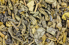 Dried green tea leaves close up. Royalty Free Stock Photos