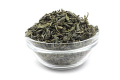 Dried green tea leaves Stock Images