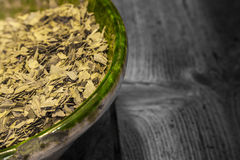 Dried green tea leaves Stock Photo