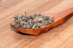 DRIED GREEN TEA IN WOODEN SPOON Royalty Free Stock Photos