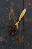 Dried hawthorn berries in a wooden spoon Stock Photos