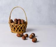 Dried hazelnuts in basket Royalty Free Stock Photos