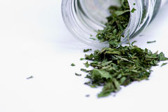Dried herbs in bottle Stock Images