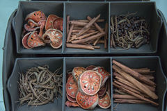 Dried herbs in display. Display in spa and massage shop Royalty Free Stock Image