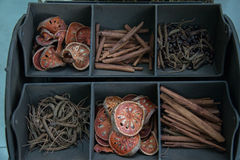 Dried herbs in display. Royalty Free Stock Photography