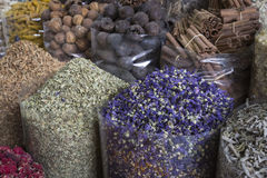 Dried herbs, flowers and arabic spices in the souk at Deira in D Stock Photo